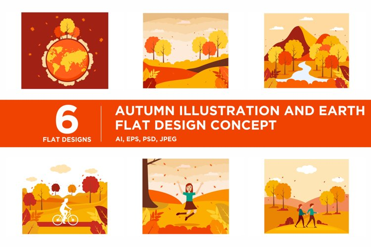 Autumn Illustration and Earth flat design concept example image 1