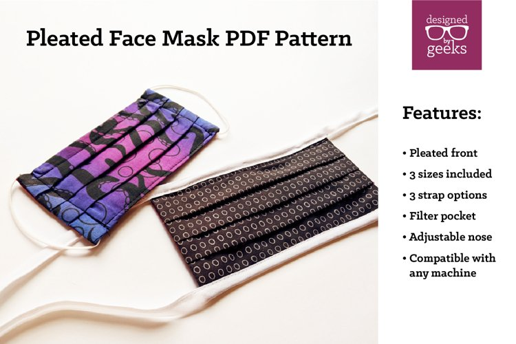 Pleated Face Mask Sewing Pattern PDF example image 1