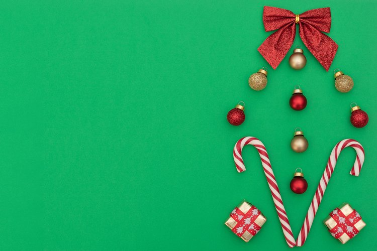 Two Christmas canes with gift boxes, red and gold Xmas balls example image 1