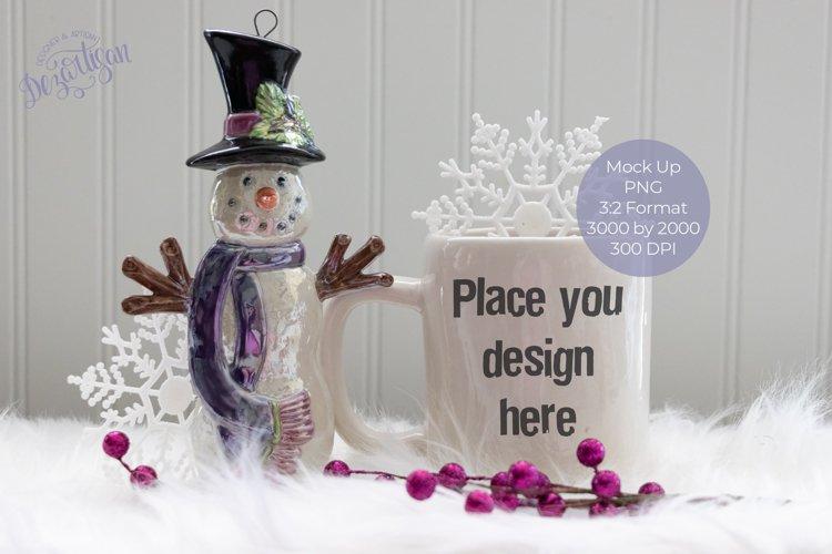 Christmas Winter Snowman White Mug Mock Up example image 1