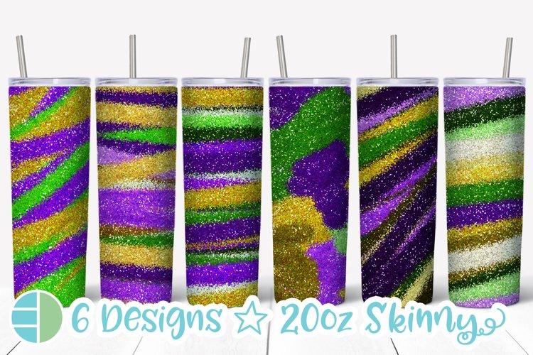 Skinny Tumbler Sublimation Design - Mardi Gras Glitter example image 1