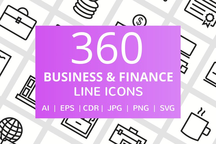 360 Business & Finance Line Icons example image 1