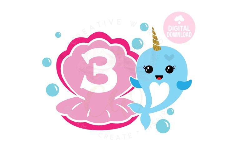 3rd Birthday svg   My 3rd Birthday svg   Narwhal Birthday example image 1