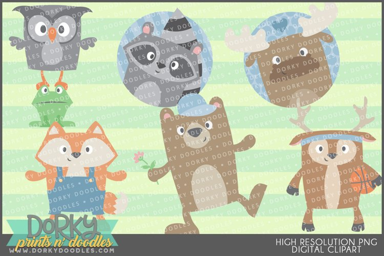 Cute Forest Animals Clipart example image 1