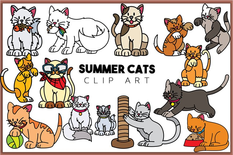 Summer Cats Clip art