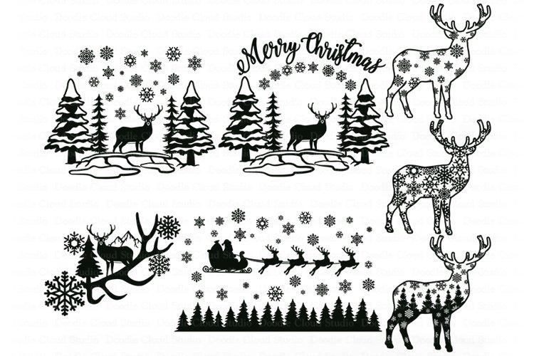 Deer SVG, Christmas Scene with Deer Bundle SVG, Winter Scene