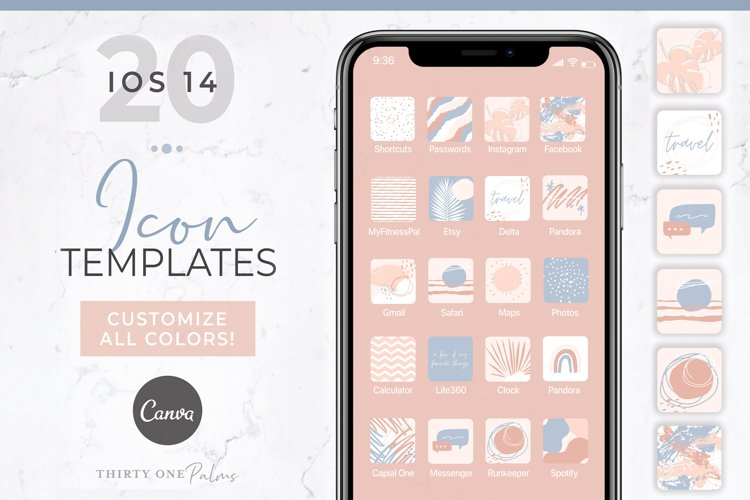 iOS 14 Icon Canva Template | App Icons | Rose example image 1