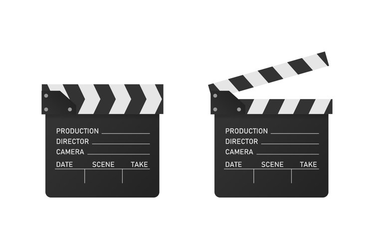Vector Movie clipper in realistic style. Open and Close example image 1