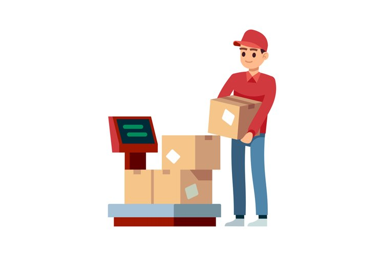 Warehouse. Man puts boxes on scales in industry offices, iso example image 1