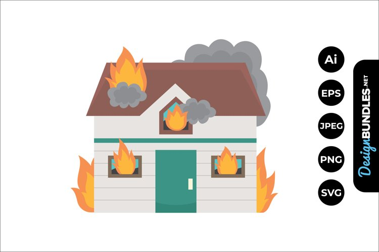 House on Fire Clipart