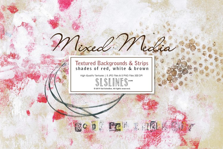 Mixed Media Backgrounds in Red, Brown & White