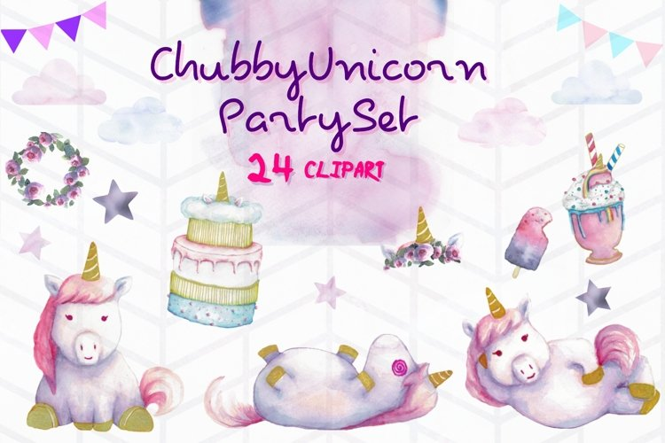 Hand painted Chubby Unicorn Party Clipart