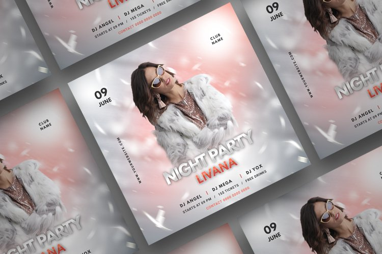 Music Party Social Media Post Template. Vol 5
