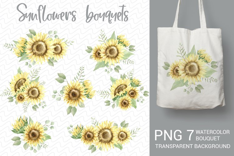 Watercolor bouquets of sunflowers and greens for sublimation example image 1