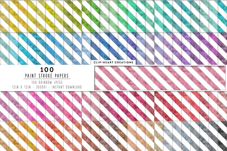 100 Glitter Stripes Digital Papers in Rainbow Colors example image 1