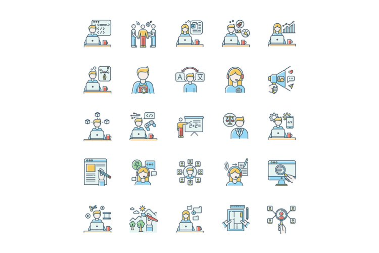 Freelance professions blue RGB color icons set example image 1