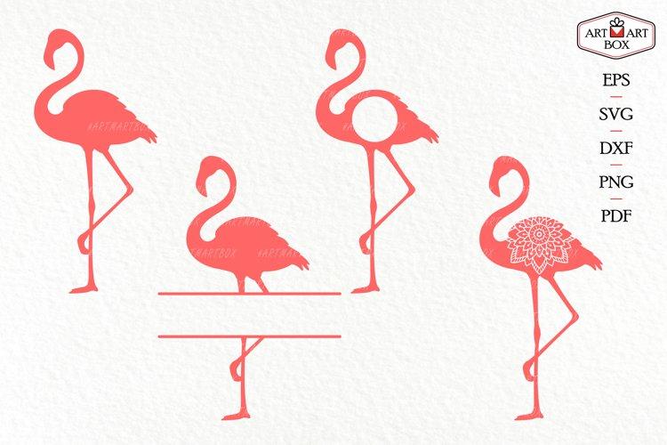 Set of four pink flamingos.
