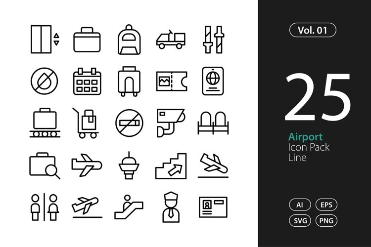 Airport Icon Line SVG, EPS, PNG