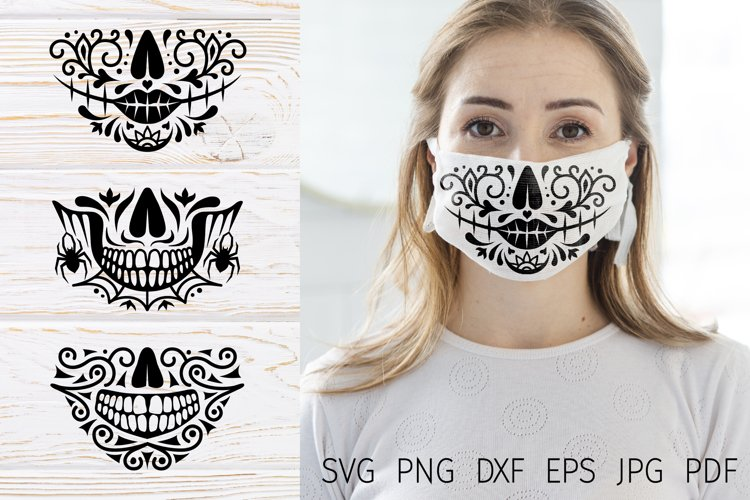Face mask Halloween svg cut files, sugar skull face mask svg example image 1