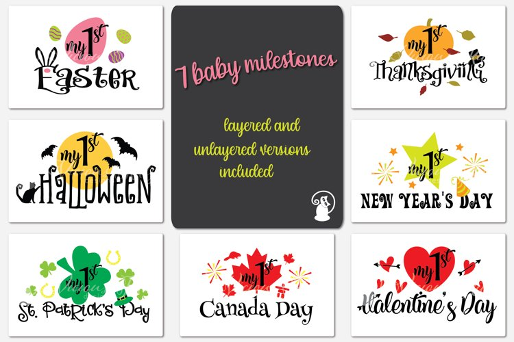 Baby milestone svg bundle, Baby's first Canada holidays, my example image 1
