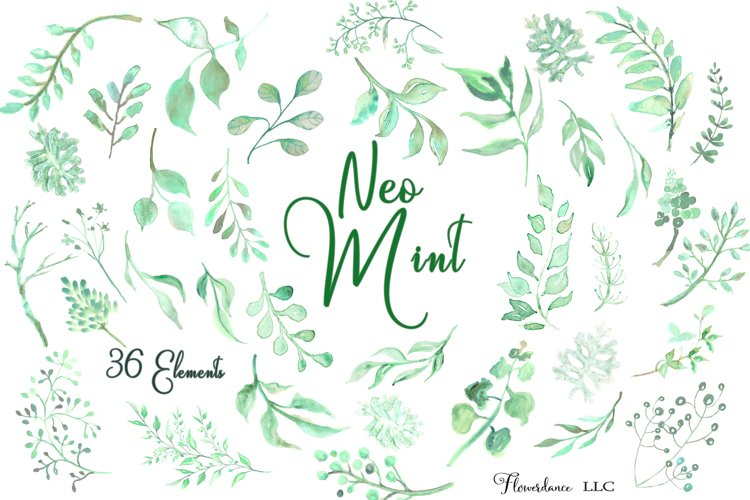 Watercolor Greenery Clipart in Neo Mint, Botanical Elements example image 1