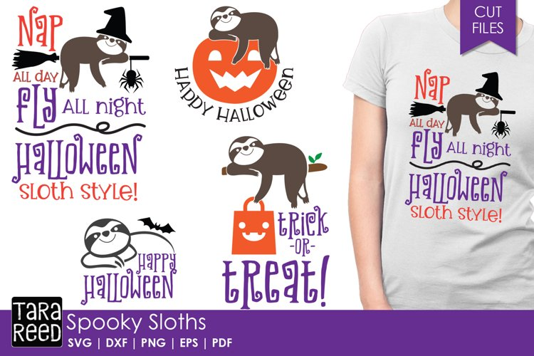 Spooky Sloths - Halloween SVG and Cut Files for Crafters example image 1