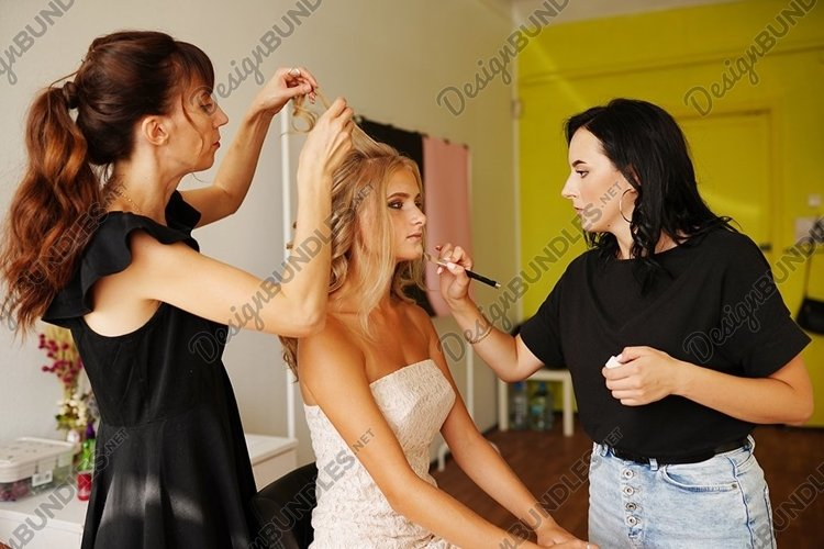 Backstage prepare young beautiful modeling stylist hairdress example image 1