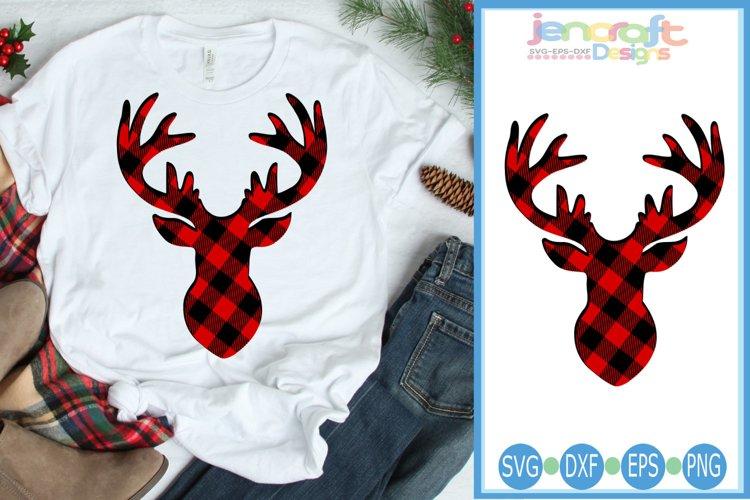 Buffalo Plaid Reindeer SVG, Christmas Deer svg Antlers Buck