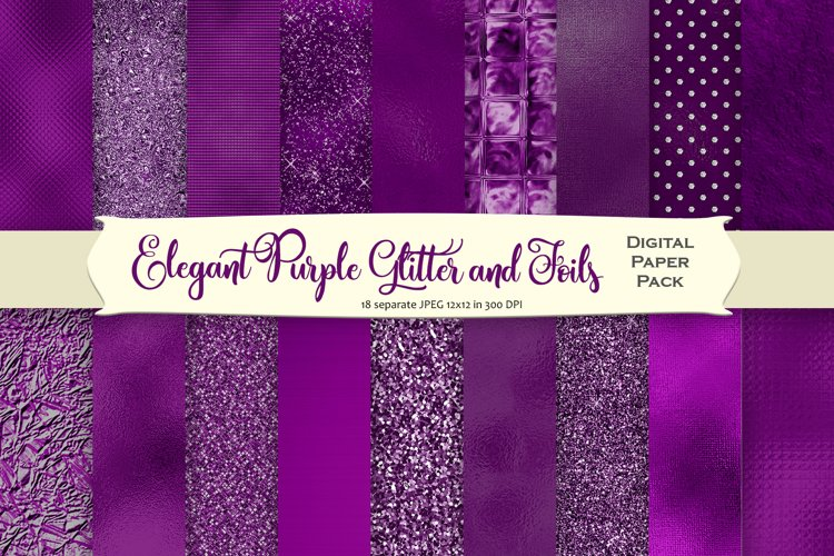 Purple Glitter and Foil Digital Paper Pack example image 1
