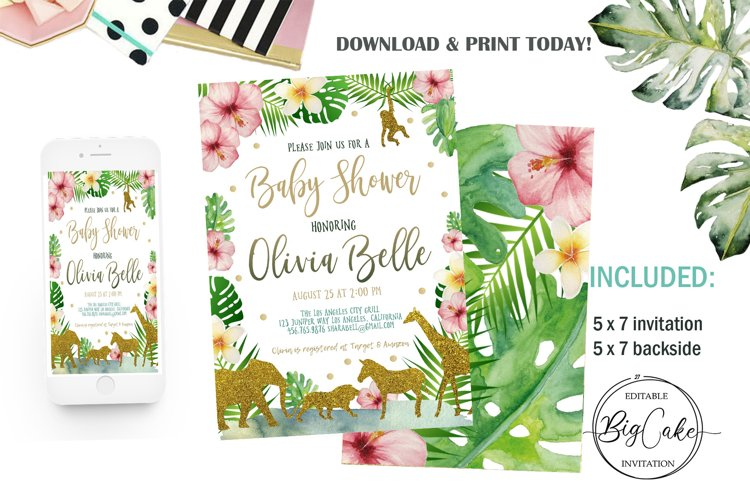 Jungle Gold Baby Shower Invitation example image 1