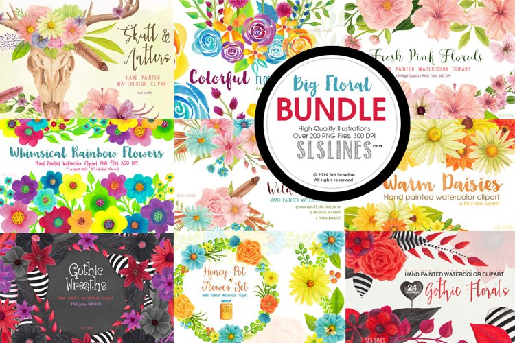 Big Watercolor Floral Bundle example image 1