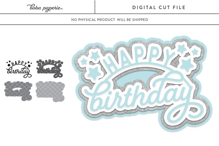 Happy Birthday SVG - layered svg for cake toppers