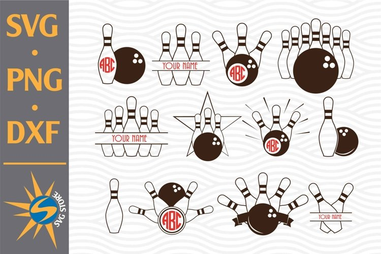 Bowling Monogram SVG, PNG, DXF Digital Files