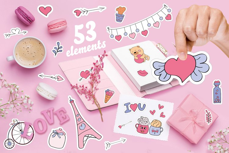 Stickers for Valentines day vector