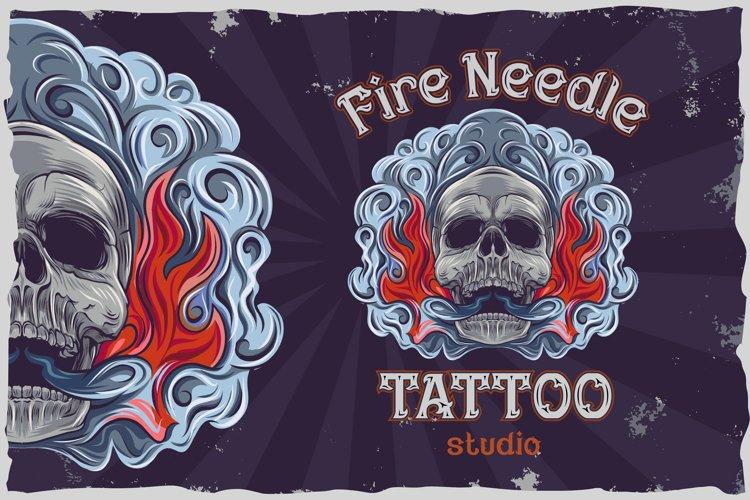 Fire needle -tattoo salon label font example 5