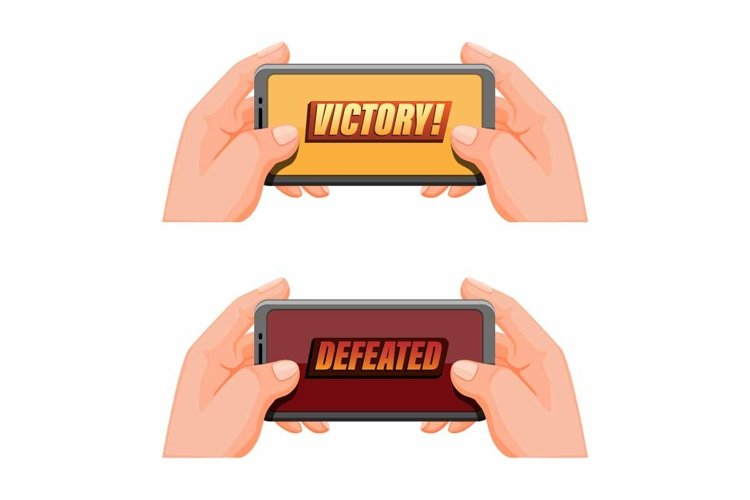 hand holding smartphone victory and defeated pop up icon example image 1