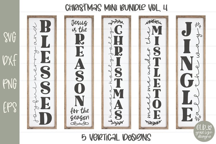 Christmas Sign Bundle VOL. 4 - 5 Vertical Christmas Designs example image 1