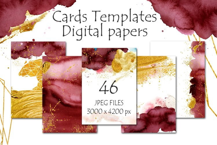Burgundy and Gold Digital papers Cards templates