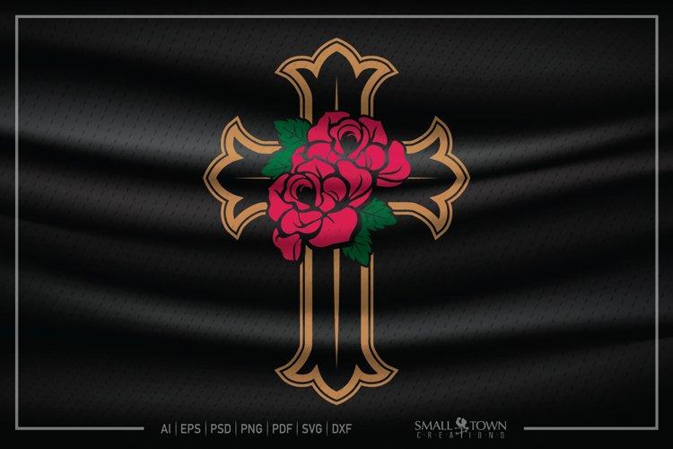 Rose, Cross, Roses on the Cross, In loving Memory, Rose SVG