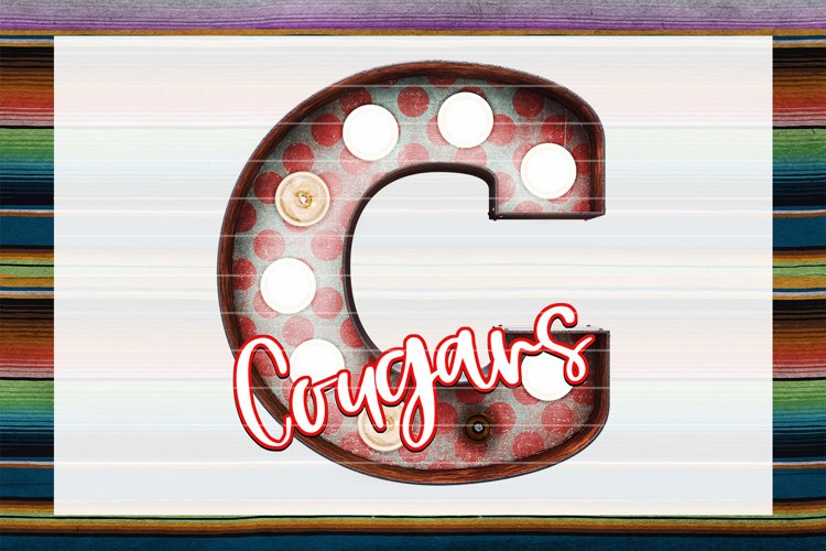 Cougars Red & Blue Marquee Sublimation PNG example image 1