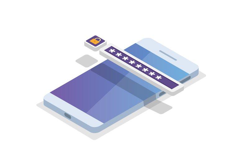 Data Access, Password isometric concept.