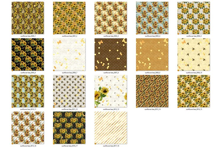 Sunflower Bees Digital Paper - Free Design of The Week Design1