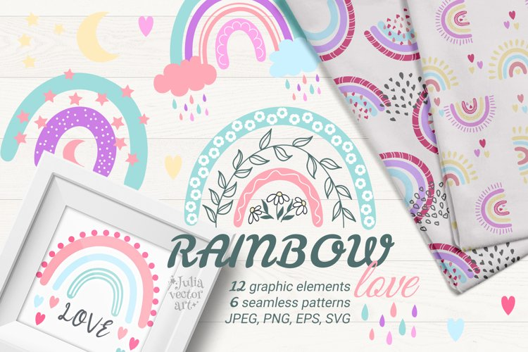 Rainbow Love - vector clipart patterns