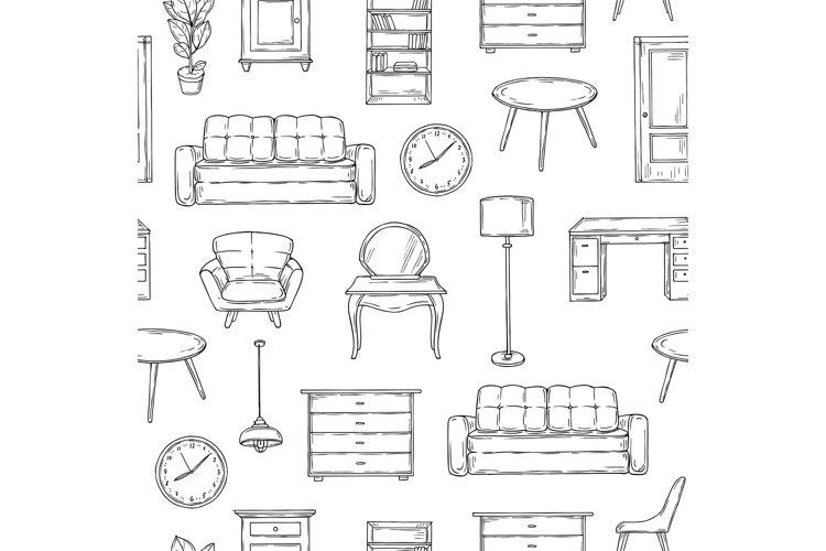 Sketch furniture pattern. Living room doodle vintage interio example image 1
