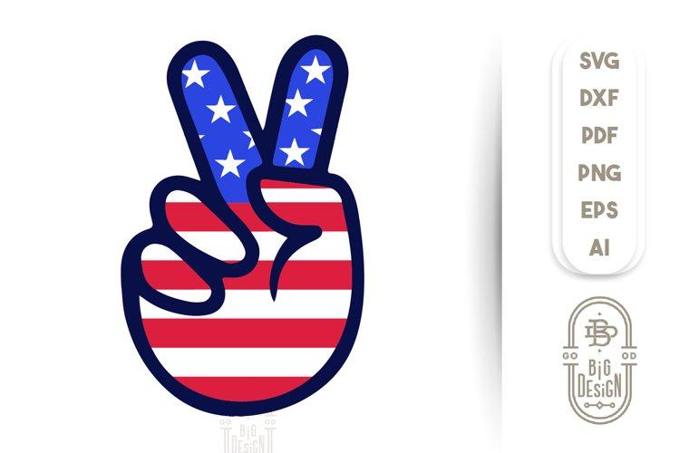 4th of July - Victory SVG File / Peace Sign SVG / V Sign SVG example image 1