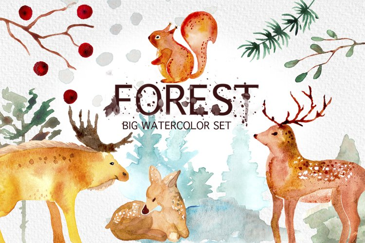 Winter Forest Watercolor Graphic Set example image 1