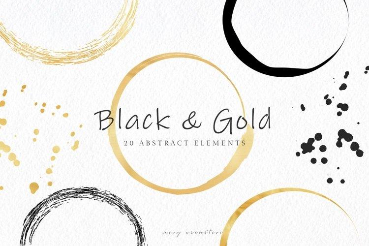 20 Black and Gold Circles Frames Clip Art Set