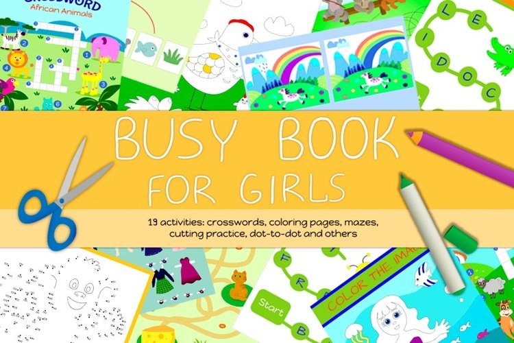 Busy Book for Girls - A4 size, printable JPG / EPS / AI