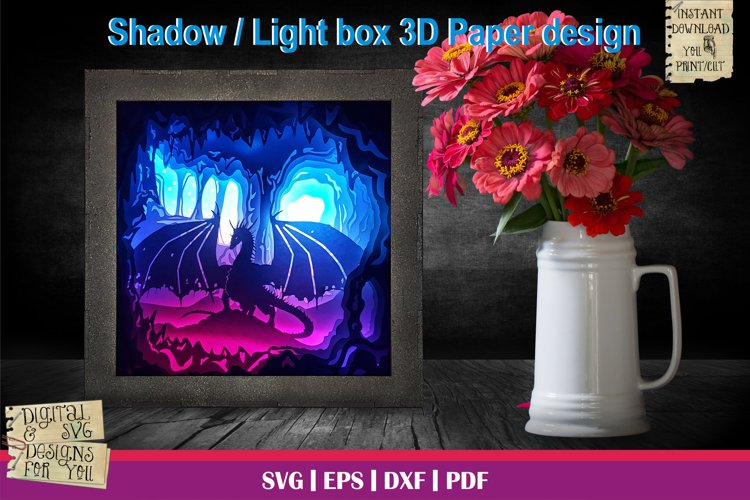 Dragons Lair 3D Light box Paper Cut Template Shadow box svg
