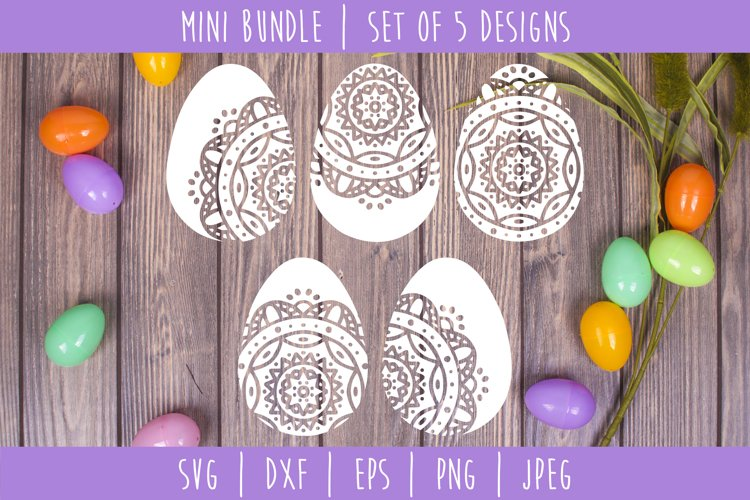 Mandala Easter Egg Bundle Set of 5 - SVG, DXF, EPS, PNG JPEG
